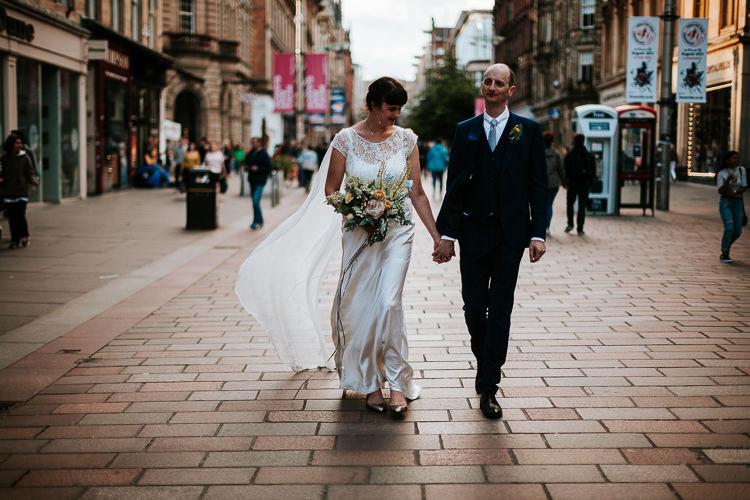 Bride Groom Walk City Street Photography Glasgow Scotland | Glitter Dinosaurs City Wedding https://struvephotography.co.uk/