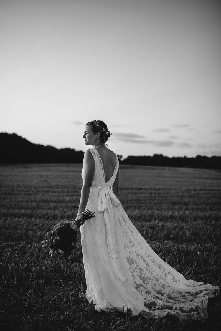 Lace Dress Gown Bride Bridal Charlie Brear Straps Sash Festival Bohemian Glamping Wedding https://theshannons.photography/