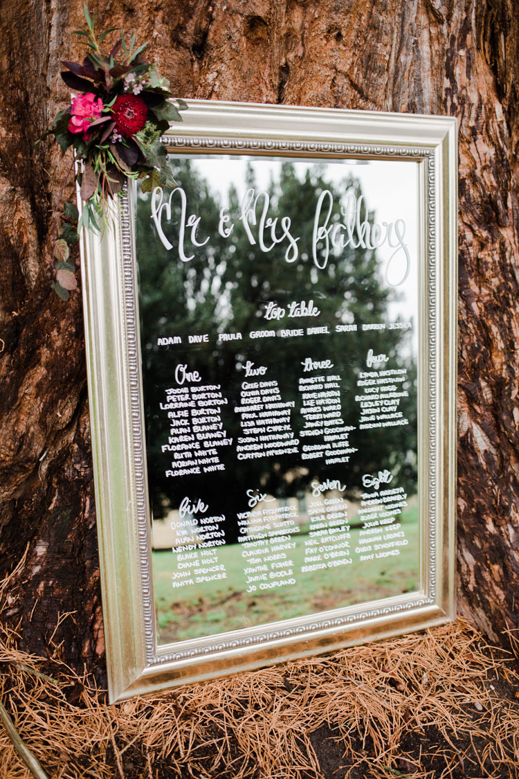 Frame Mirror Seating Plan Chart Table Calligraphy Outdoorsy Late Summer Marquee Wedding Ideas http://www.esmefletcher.com/