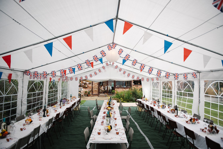 Wartime Union Jack Bunting Afternoon Tea Marquee Homemade Street Party Back Garden Wedding http://www.foxmoonphotography.com/