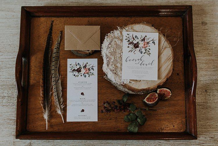 Stationery Invite Invitations Calligraphy Floral Banquets Bonfires Autumn Wedding Ideas https://lolarosephotography.com/
