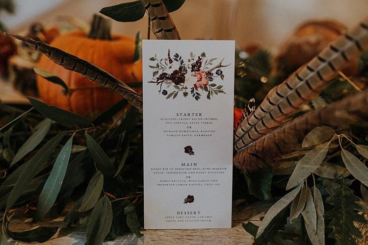 Stationery Menu Calligraphy Floral Banquets Bonfires Autumn Wedding Ideas https://lolarosephotography.com/