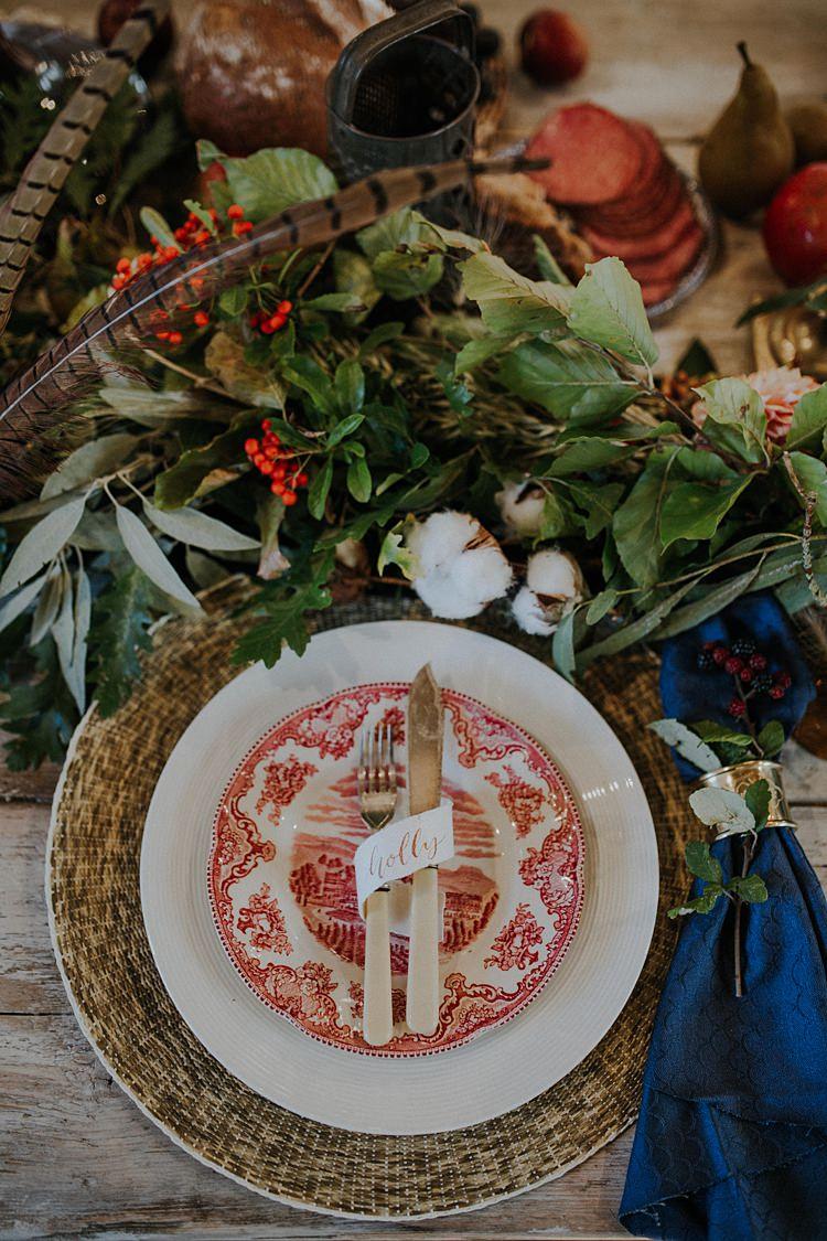 Plates Cutlery Place Setting Decor Banquets Bonfires Autumn Wedding Ideas https://lolarosephotography.com/