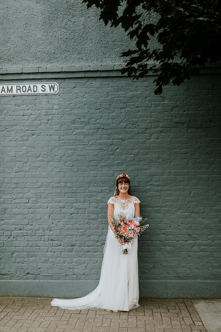 Iris Halfpenny London Lace Dress Gown Bride Bridal Veil Bright Colourful DIY Back Garden Wedding http://jonnymp.com/
