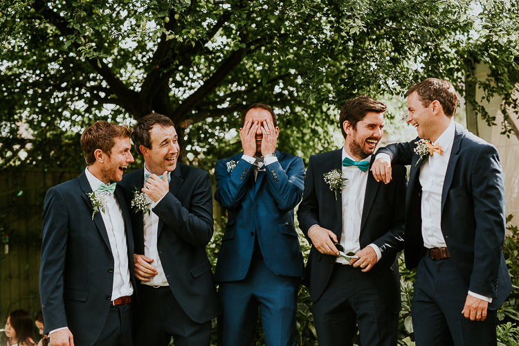 Bow Tie Groomsmen Bright Colourful DIY Back Garden Wedding http://jonnymp.com/