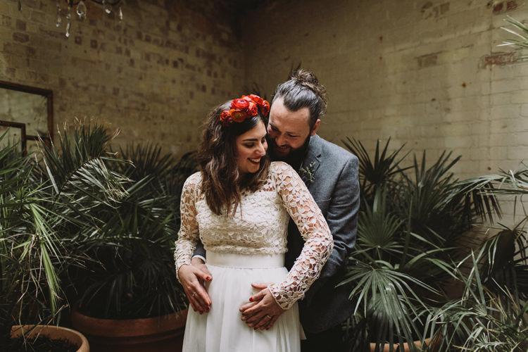 Bride Bridal Dress Gown Lace Long Sleeve Sweetheart Flower Crown Red Burgundy Rose Grey Tweed Groom Alternative London Warehouse Wedding https://www.lukehayden.co.uk/