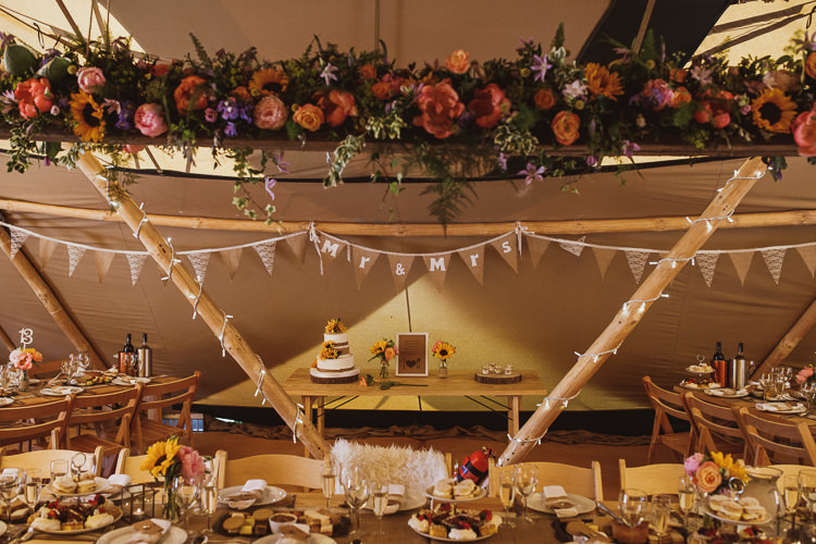 Hessian Bunting Floral Garland Installation Colourful Rustic Rural Clifftop Tipi Wedding https://www.njphotographic.co.uk/