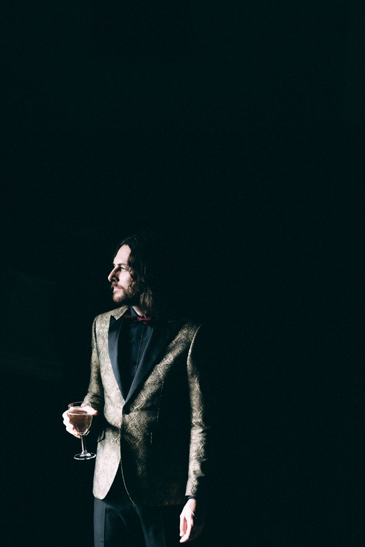 Groom Gold Jacket Paisley Tuxedo Bow Tie Opulent Eccentric Berry Gold Wedding https://mattaustinimages.co.uk/