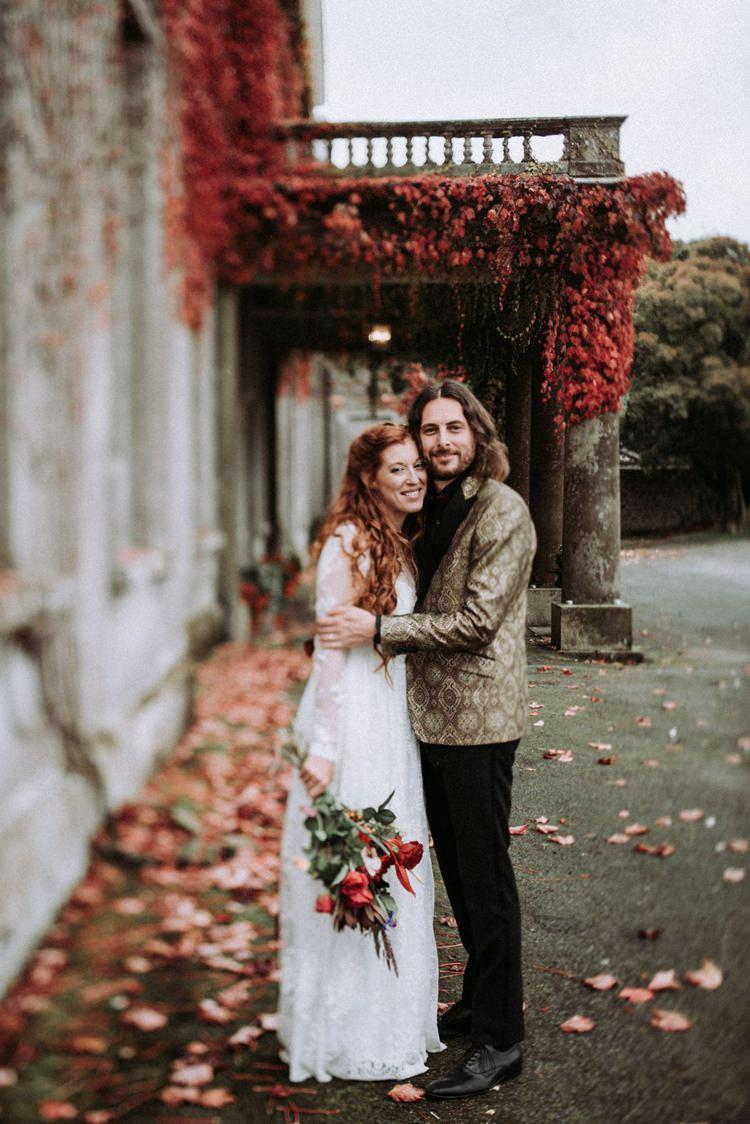 Groom Gold Jacket Paisley Tuxedo Bow Tie Bride Bridal Long Sleeved Dress Gown High Street Boohoo Opulent Eccentric Berry Gold Wedding https://mattaustinimages.co.uk/