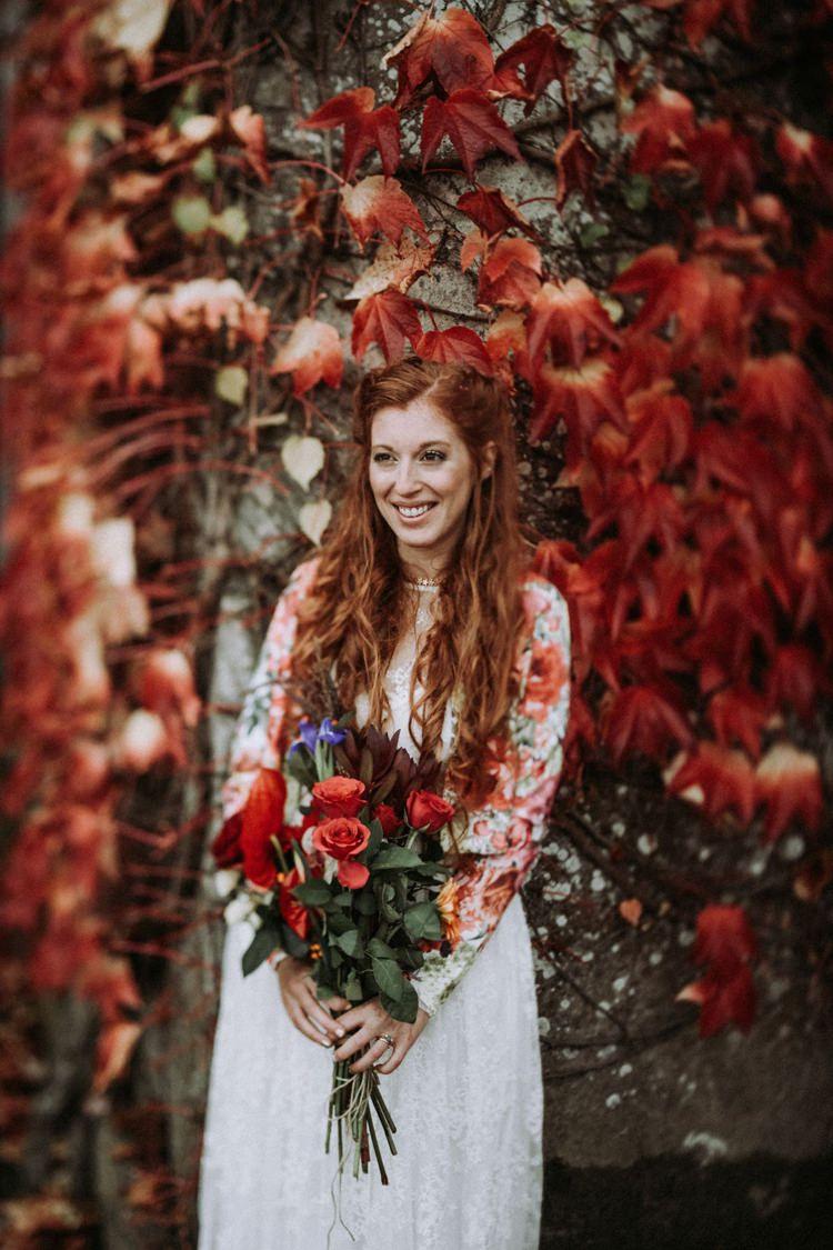 Bride Bridal Long Sleeved Dress Gown Deconstructed Bouquet Loose Curls Waves Opulent Eccentric Berry Gold Wedding https://mattaustinimages.co.uk/