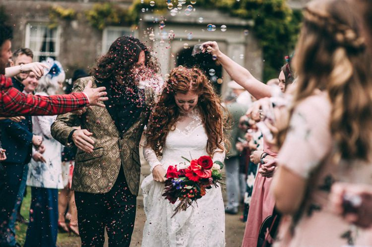 Groom Gold Jacket Paisley Tuxedo Bow Tie Bride Bridal Long Sleeved Dress Gown High Street Boohoo Confetti Bubbles Opulent Eccentric Berry Gold Wedding https://mattaustinimages.co.uk/