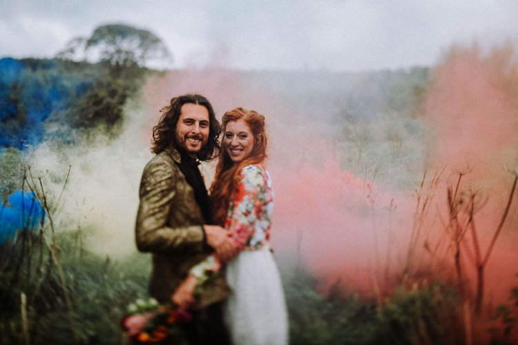Groom Gold Jacket Paisley Tuxedo Bow Tie Bride Bridal Long Sleeved Dress Gown High Street Boohoo Embroidered Just Married Floral Jacket Smoke Bomb Opulent Eccentric Berry Gold Wedding https://mattaustinimages.co.uk/