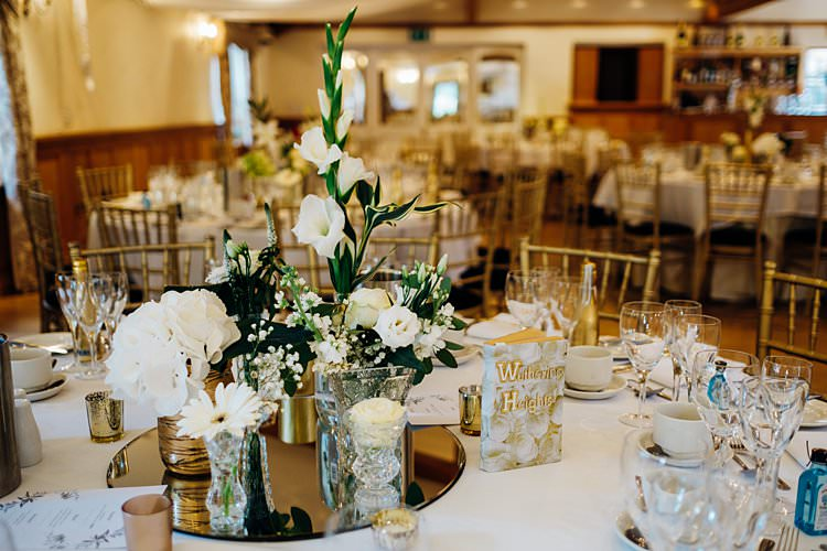 Flowers Table Decor Centrepiece Gold Mirror Bottles Stylish Country House Rave Wedding http://www.mariannechua.com/