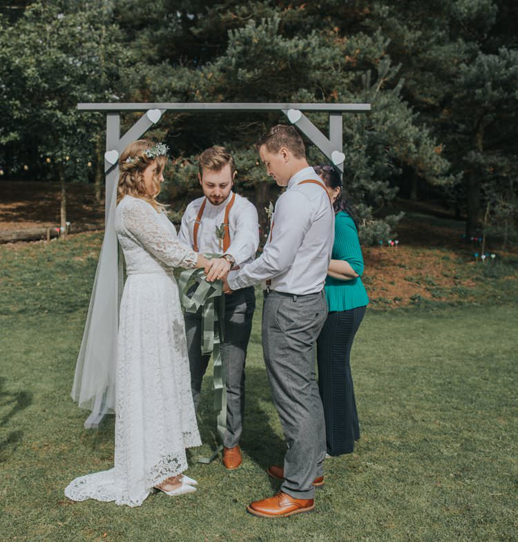 Wooden Arch Outdoor Humanist Ceremony Garden Whimsical Green Copper Rustic DIY Wedding http://www.brookrosephotography.co.uk/