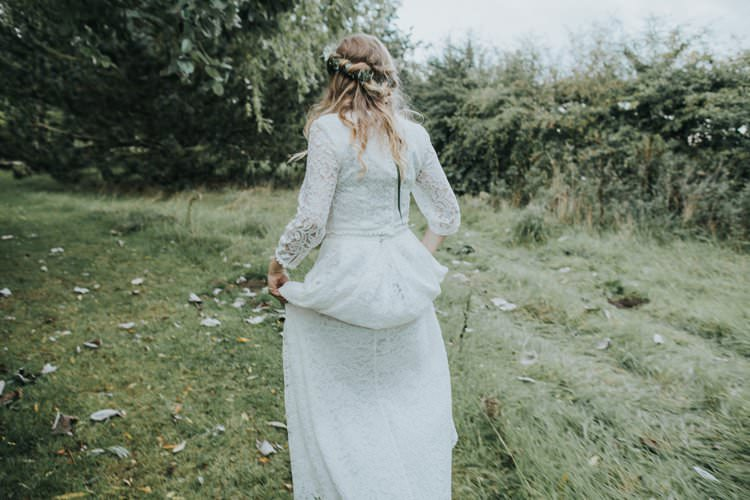 Lace Dress Gown Bride Bridal Sleeves Bohemian Boho Whimsical Green Copper Rustic DIY Wedding http://www.brookrosephotography.co.uk/