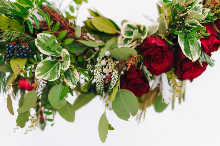 Flowers Greenery Folliage Rose Red Green Winter Wonderland Wedding Ideas http://www.angelawardbrown.com/