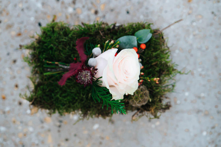 Blush Rose Buttonhole Red Green Winter Wonderland Wedding Ideas http://www.angelawardbrown.com/