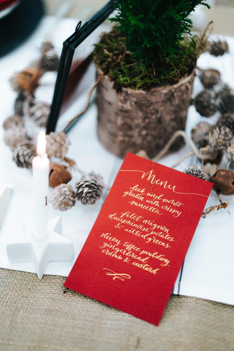 Gold Calligraphy Menu Red Green Winter Wonderland Wedding Ideas http://www.angelawardbrown.com/