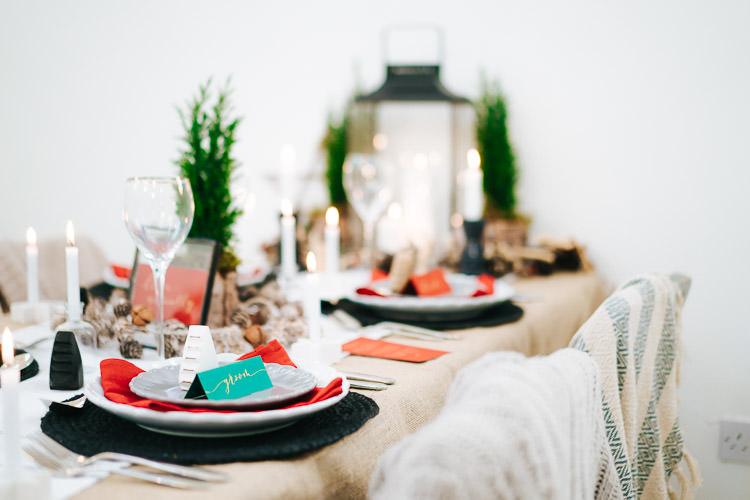 Tablescape Table Decoration Candles Red Green Winter Wonderland Wedding Ideas http://www.angelawardbrown.com/