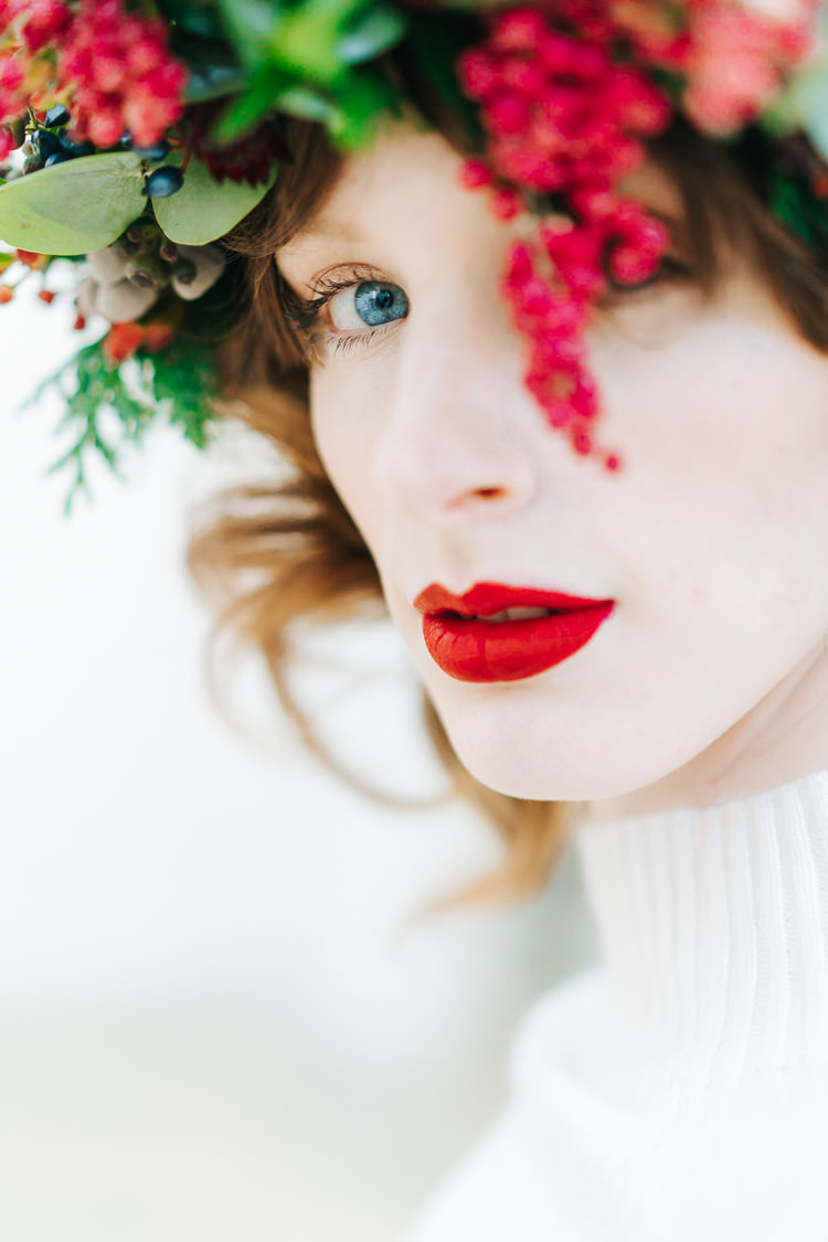 Lipstick Bride Bridal Red Green Winter Wonderland Wedding Ideas http://www.angelawardbrown.com/