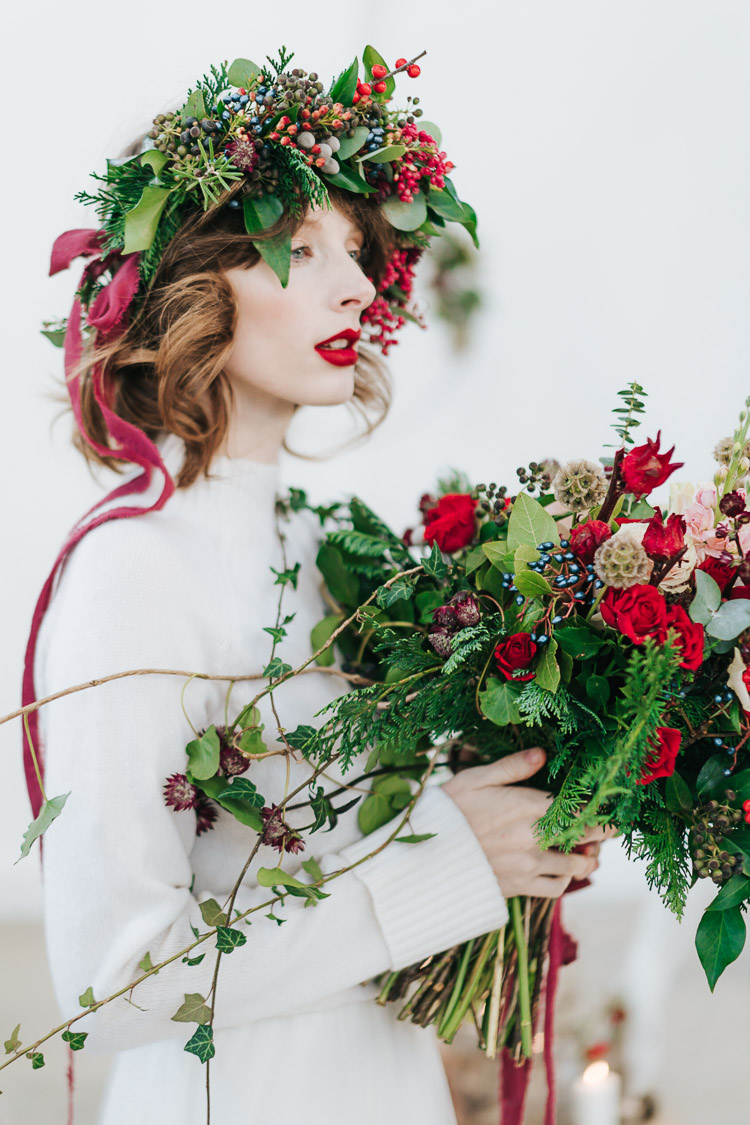 Flowers Greenery Folliage Rose Flower Crown Bride Bridal Red Green Winter Wonderland Wedding Ideas http://www.angelawardbrown.com/