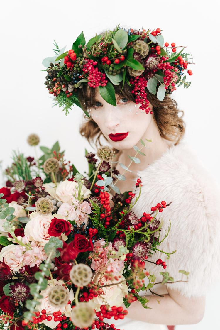 Flowers Greenery Folliage Rose Bouquet Bride Bridal Red Green Winter Wonderland Wedding Ideas http://www.angelawardbrown.com/
