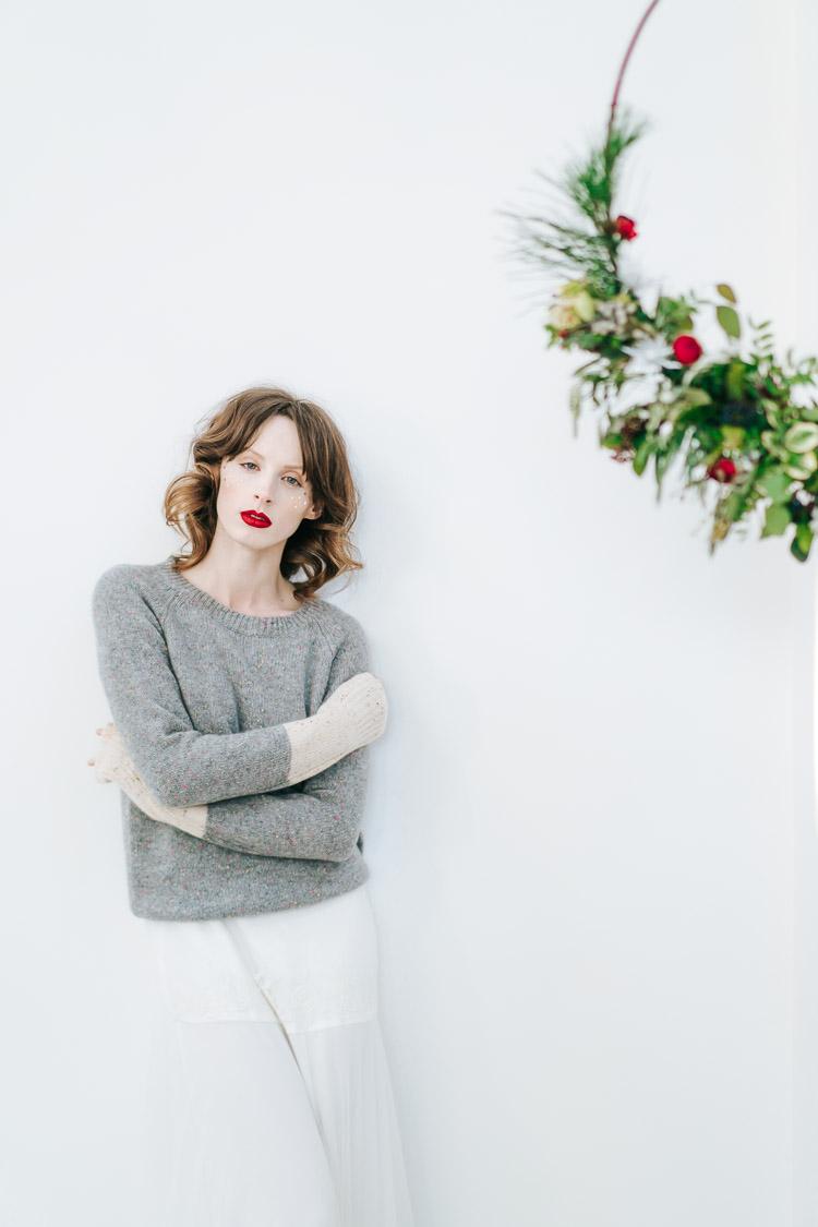 Knit Jumper Bride Bridal Red Green Winter Wonderland Wedding Ideas http://www.angelawardbrown.com/