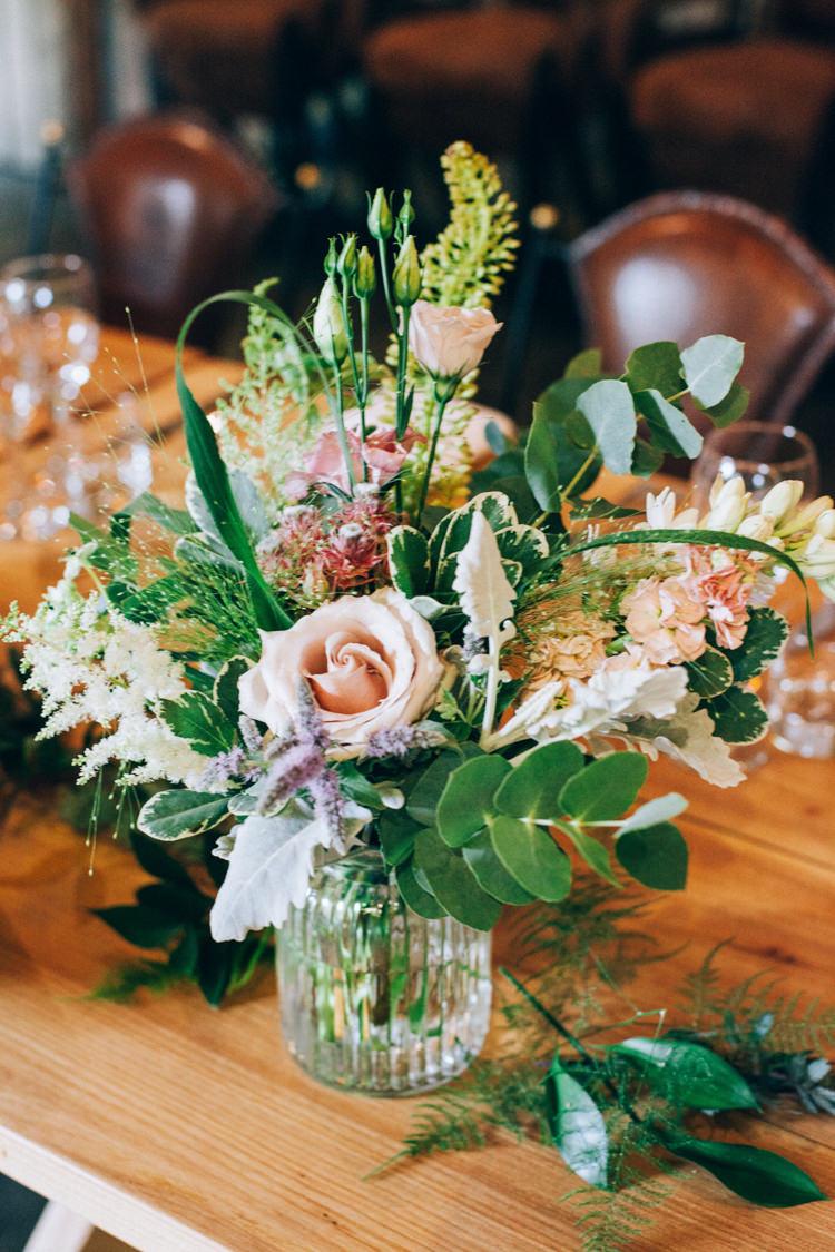 Flowers Table Centrepiece Pink Green Jar Flowery Bohemian Secret Garden Wedding https://caseyavenue.co.uk/