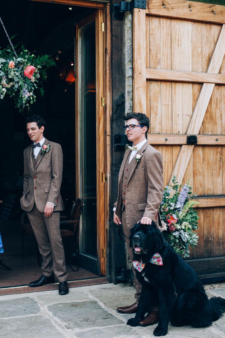 Brown Tweed Suits Bow Tie Groom Groomsmen Dog Flowery Bohemian Secret Garden Wedding https://caseyavenue.co.uk/