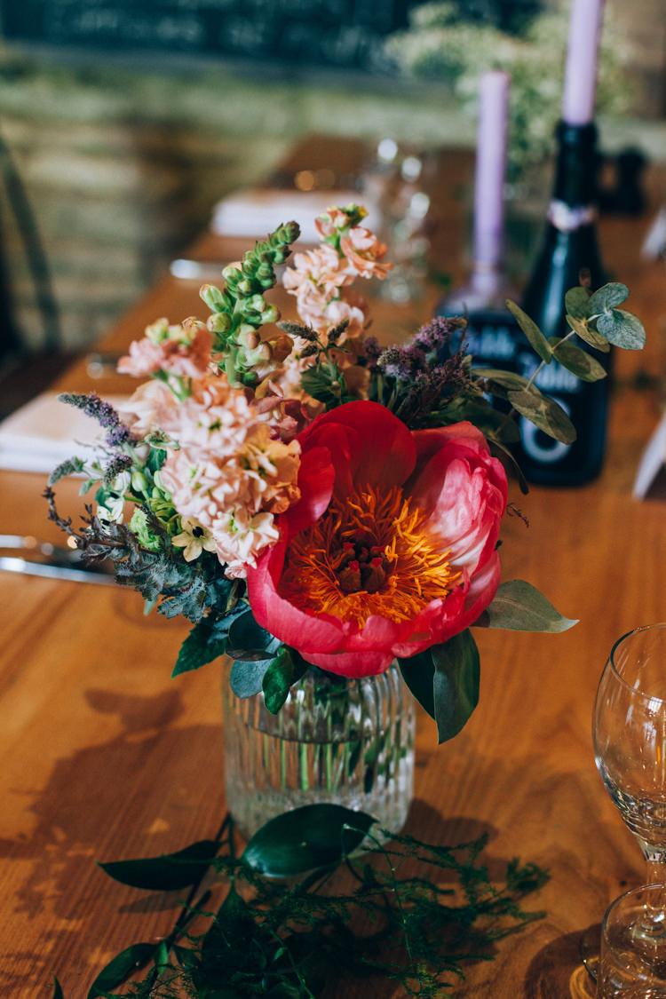 Coral Peony Flowers Jar Table Centrepiece Flowery Bohemian Secret Garden Wedding https://caseyavenue.co.uk/