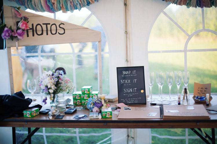 Polariod Photo Booth Relaxed Lavender Farm Marquee Wedding https://sashaleephotography.com/