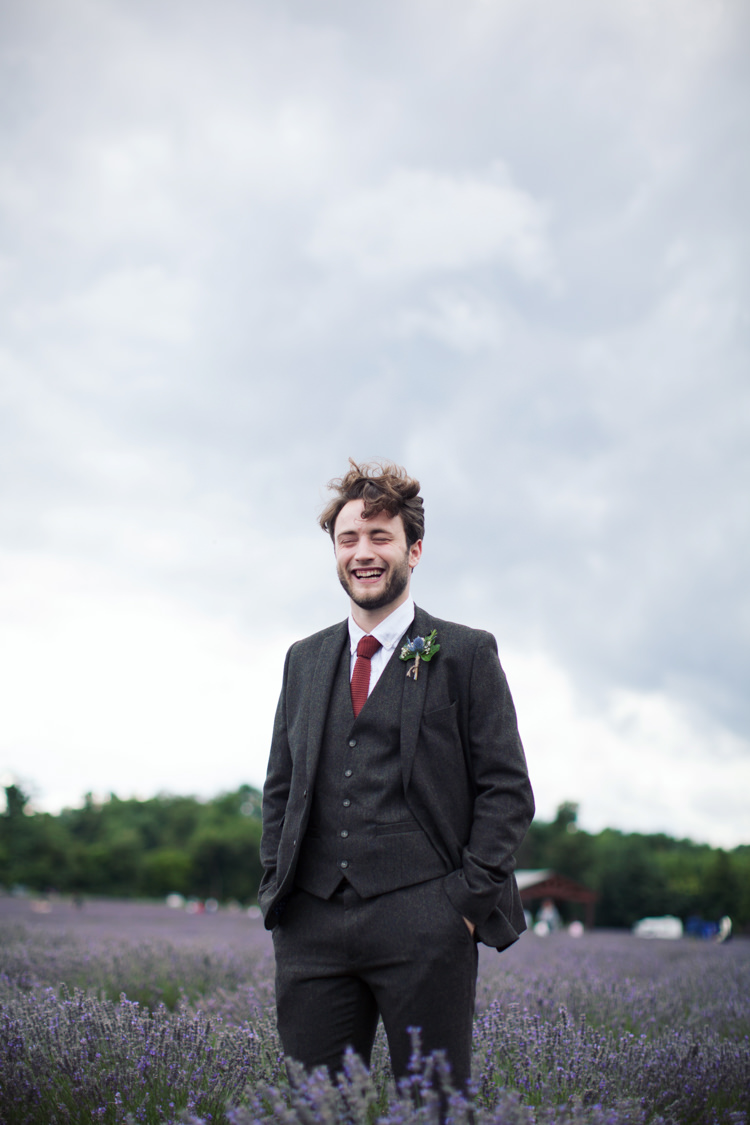 Tweed Suit Groom Knitted Tie Relaxed Lavender Farm Marquee Wedding https://sashaleephotography.com/