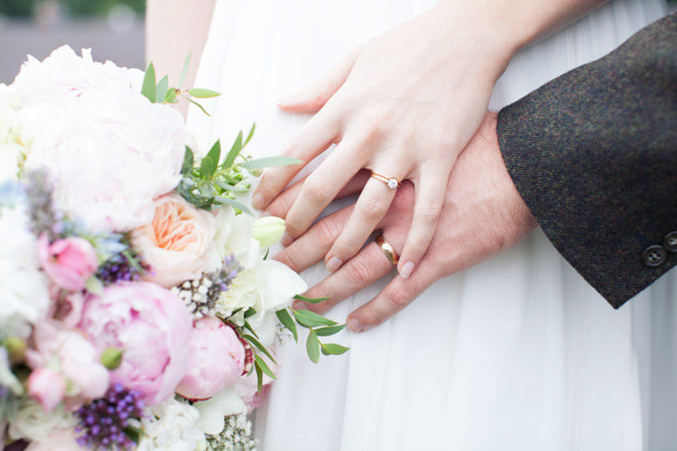 Rings Bands Engagement Rose Gold Relaxed Lavender Farm Marquee Wedding https://sashaleephotography.com/