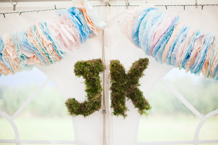 Moss Letters Decor Relaxed Lavender Farm Marquee Wedding https://sashaleephotography.com/