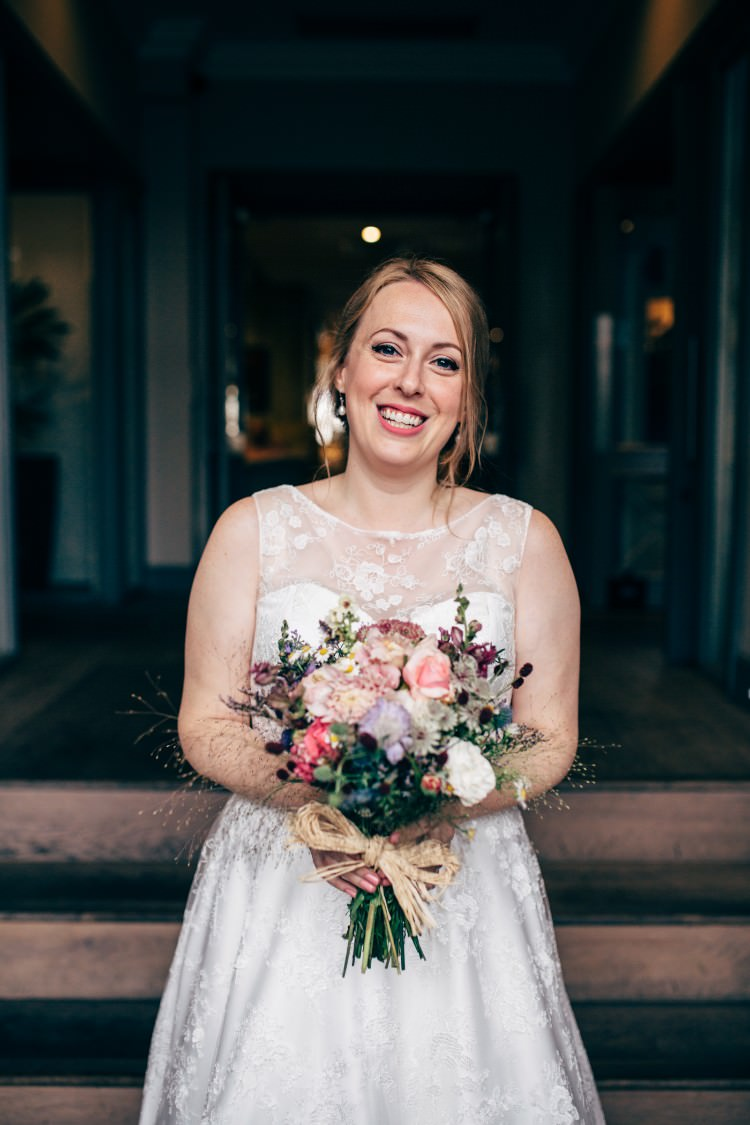 Bride Bridal Dress Gown Sweetheart Neckline Lace Bouquet Wildflower Old Fashioned Fete Cricket Pavilion Wedding https://www.naomijanephotography.com/