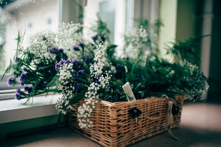 Hamper Foliage Floral Gypsophila Old Fashioned Fete Cricket Pavilion Wedding https://www.naomijanephotography.com/