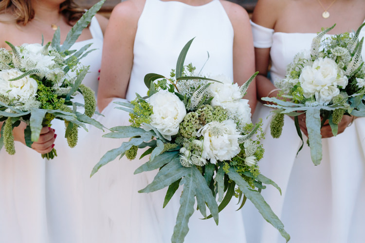 Bride Jesus Peiro Dress White Bridesmaids ASOS Simple Foliage Greenery Gold Bouquet | Modern Tropical Gold Urban Wedding https://www.christinewehrmeier.com/