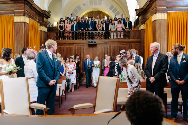Stoke Newington Town Hall Aisle Civil Ceremony Bride Groom Father Emotional | Modern Tropical Gold Urban Wedding https://www.christinewehrmeier.com/