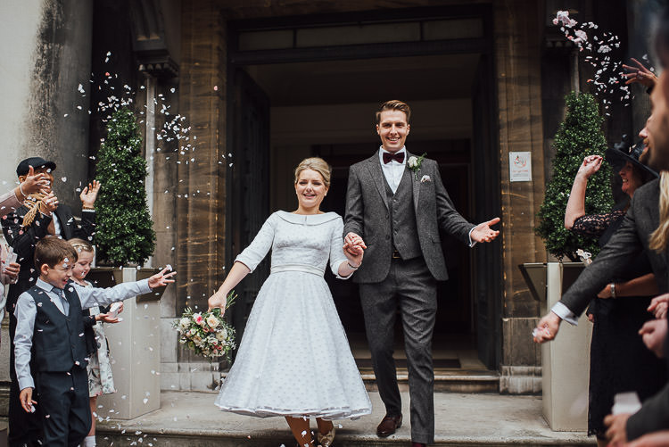 Bride Bridal Candy Anthony Polka Dot Peter Pan Collar Tea Length Groom Three Piece Suit Waistcoat Grey Tweed Burgundy Bow Tie Pocket Square Bouquet Confetti Chic Relaxed London Pub Wedding https://theshannons.photography/