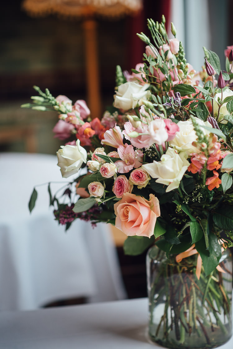 Flowers Florals Table Setting Rose Pastel Chic Relaxed London Pub Wedding https://theshannons.photography/
