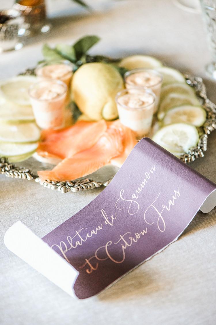 Plum Purple Violet Stationery Gold Calligraphy Invites Inviations Trendy Beautiful French Elopement Wedding Ideas http://oliviamarocco.com/