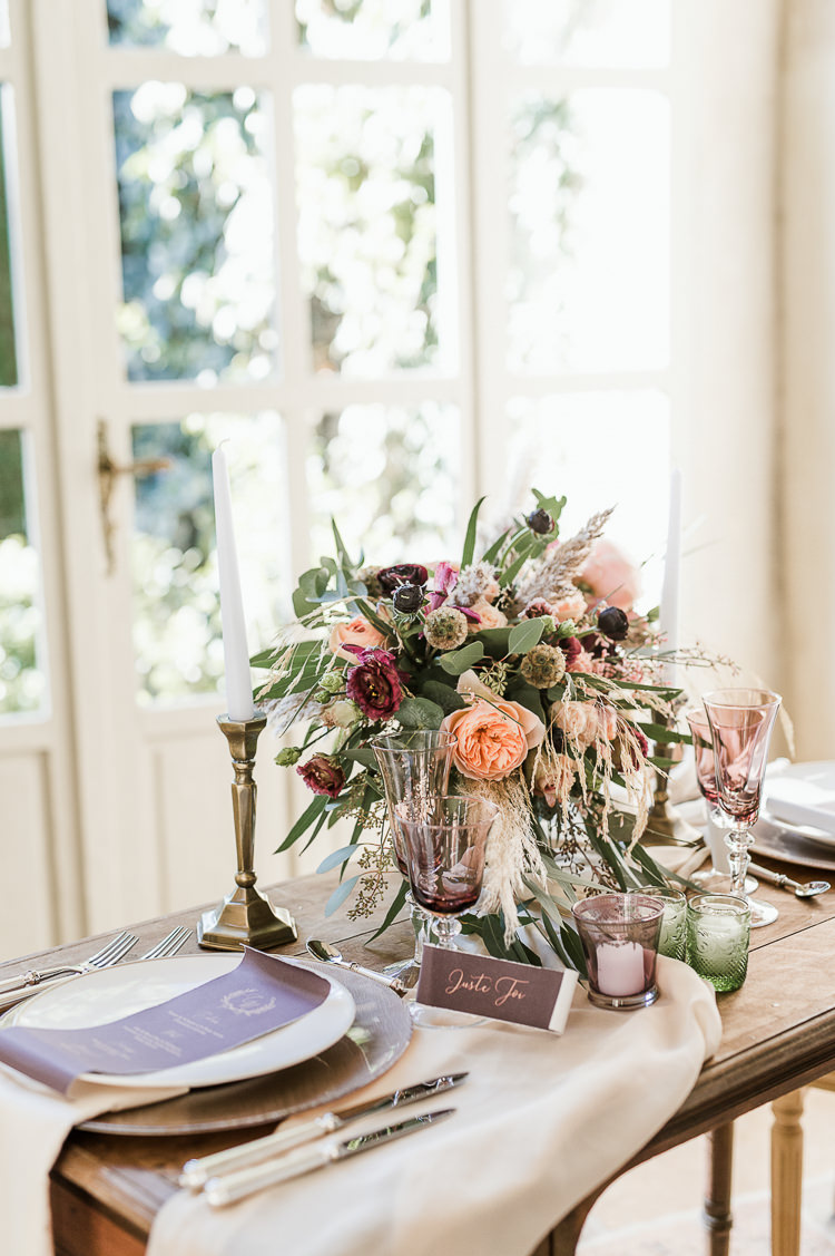 Flowers Centrepiece Table Decor Tablescape Oxblood Peach Rose Pampas Grass Greenery Violet Plum Trendy Beautiful French Elopement Wedding Ideas http://oliviamarocco.com/