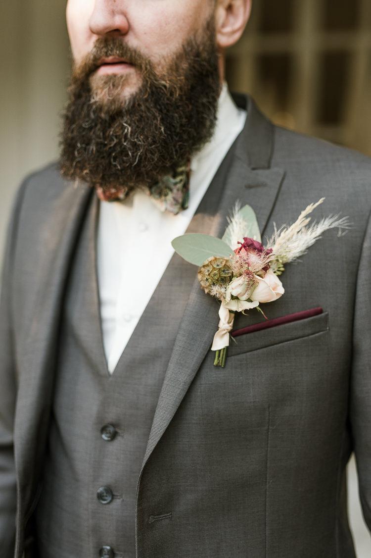Groom Bow Tie Pampas Grass Buttonhole Trendy Beautiful French Elopement Wedding Ideas http://oliviamarocco.com/