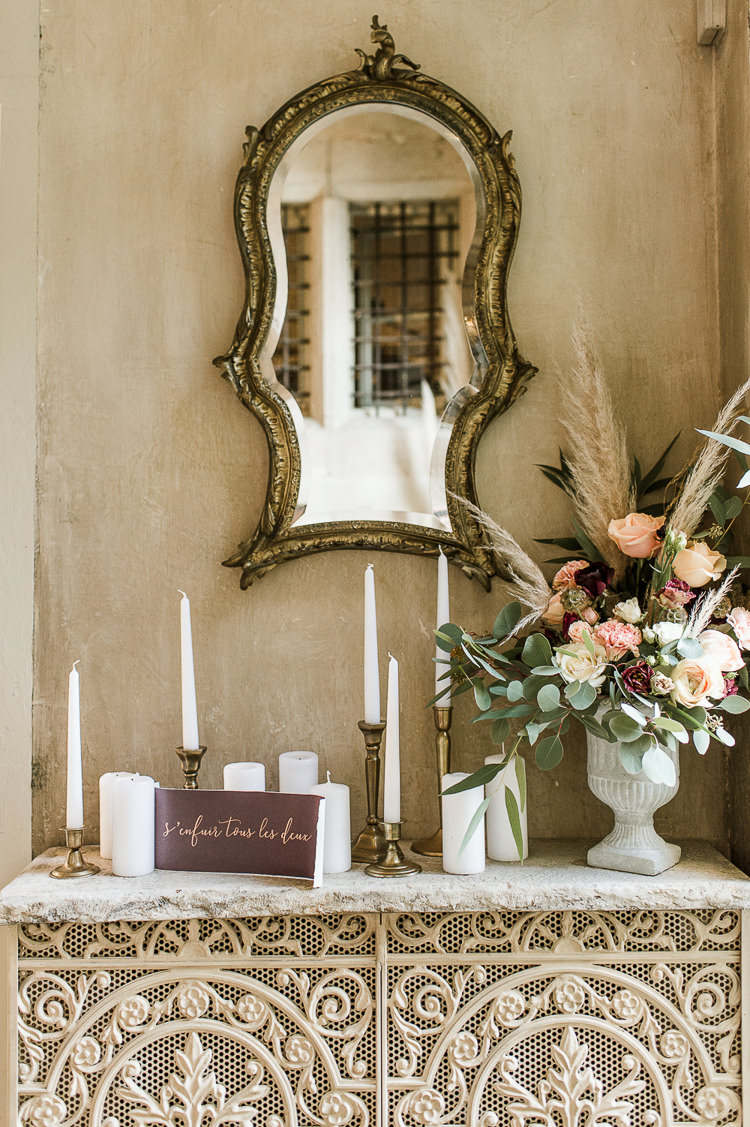 Candles Flowers Centrepiece Table Decor Tablescape Oxblood Peach Rose Pampas Grass Greenery Trendy Beautiful French Elopement Wedding Ideas http://oliviamarocco.com/