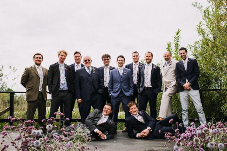 Mismatched Groom Groomsmen Suits Floral Ties Joyful Homespun Humanist Farm Camping Wedding https://aniaames.co.uk/