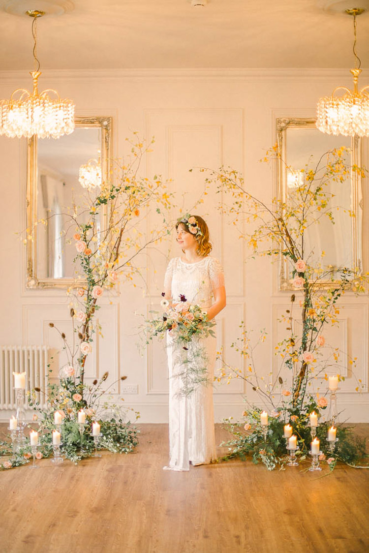 Backdrop Flowers Branch Floral Candles Bride Bridal Ceremony Beautiful Fine Art Country House Wedding Ideas https://www.theblushingpeony.co.uk/