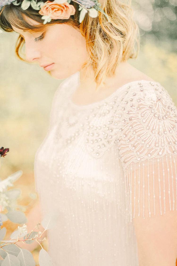 Beaded Tassel Sleeve Bride Bridal Dress Gown Beautiful Fine Art Country House Wedding Ideas https://www.theblushingpeony.co.uk/