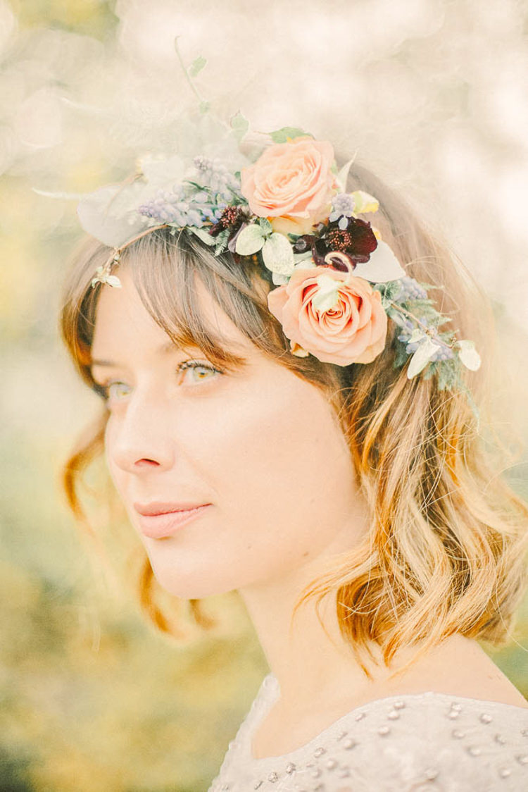 Flower Crown Short Hair Bride Bridal BobBeautiful Fine Art Country House Wedding Ideas https://www.theblushingpeony.co.uk/