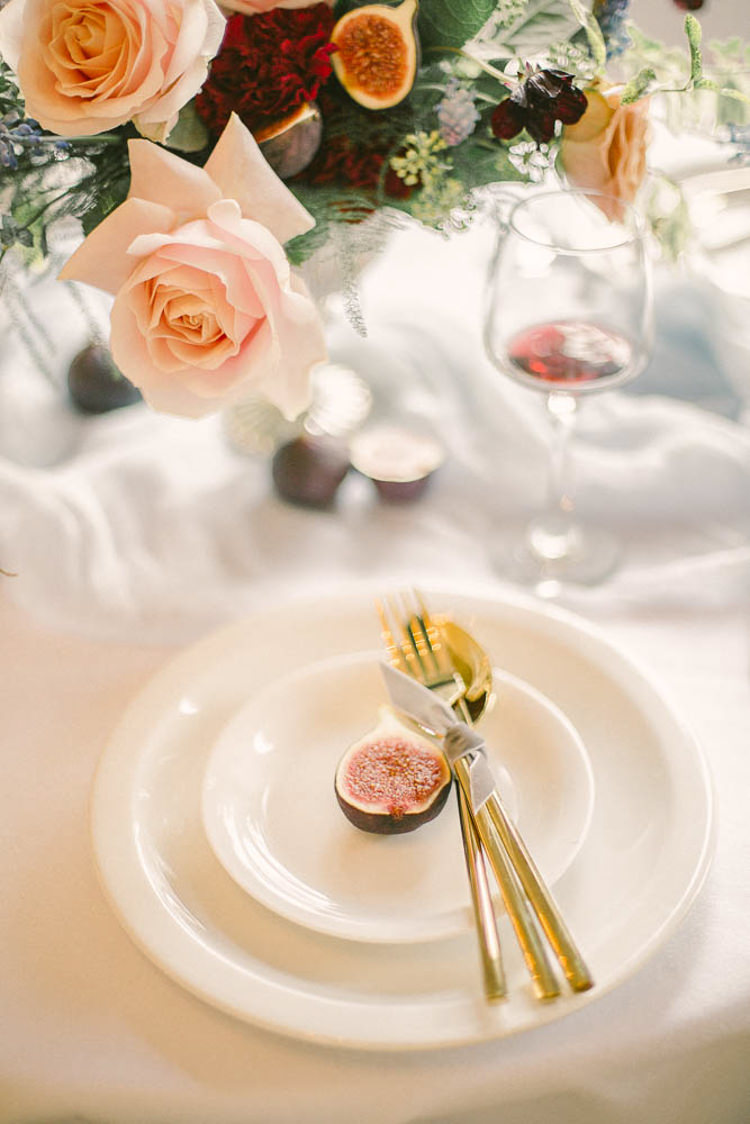 Gold Cutlery Place Setting Fig Ribbons Beautiful Fine Art Country House Wedding Ideas https://www.theblushingpeony.co.uk/