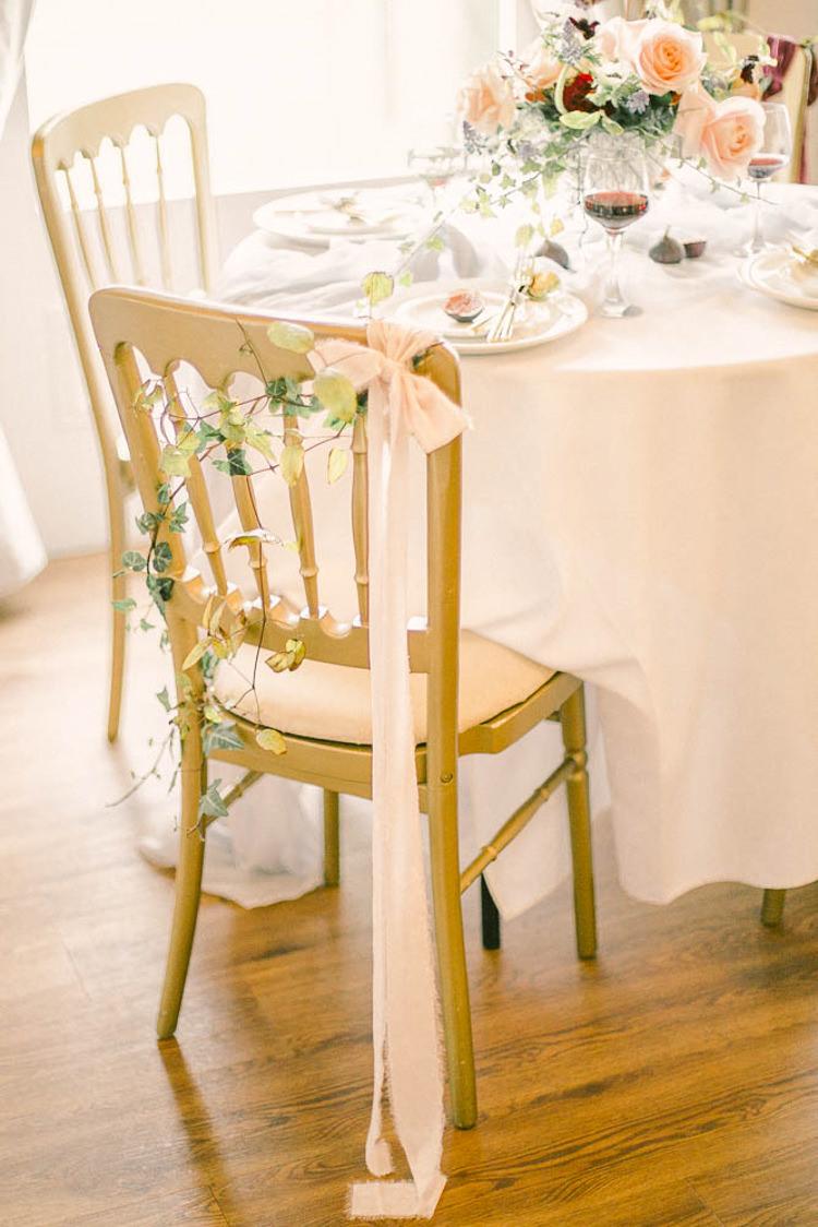 Chair Ribbon Decor Beautiful Fine Art Country House Wedding Ideas https://www.theblushingpeony.co.uk/